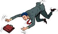 The businessman falls. Failure problem bankruptcy