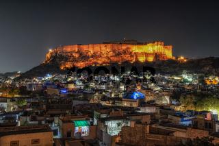 mehrangarh fort at night