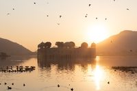 Jal Mahal, water palace in Jaipur, Rajasthan, India, sunrise view