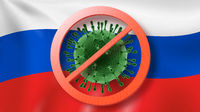 Prohibition sign with crossed out Coronavirus molecule on the background of Russian flag.
