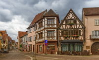 Street and houses in Obernai, Alsace, France