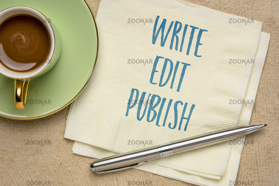 write, edit and publish - content creating concept