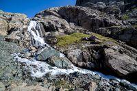 Majestic waterfall going from Alakol lake.