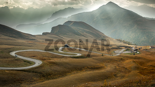 Serpentine road at Passo Giau, Dolomites, Italy