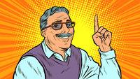 Man aged index finger up