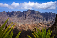 Mountains landscape panoramic view in Santo Antao island, Cape Verde