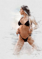 Sexy woman in bikini posing near the sea. Watercolor image