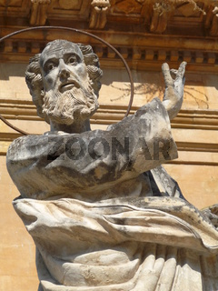 Statue of St Peter in front of cathedral, Modica, Sicily, italy