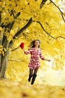 autumn woman run