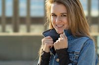 Lovely Brunette Model Posing Outdoors
