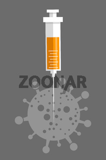 Medical icon ampoule vaccine and syringe illustration
