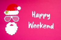 Santa Claus Paper Mask, Pink Background, Text Happy Weekend