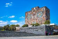 Mexico City, Mexico - February 21, 2020: Iconic building of Central Libraryin theNational Autonomous University of Mexico, UNAM. UNESCO World Heritage Site.