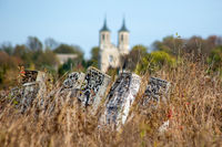 Graveyard plates in grass. Against the background of the church.