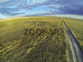 Colorado prairie in sunset light