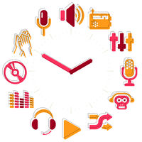 Music time. Activities icons in a watch sphere with hours.