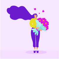 Girl holds a bouquet of flowers, Valentine's Day, March 8, delivery concept. Flat modern illustration. Vector