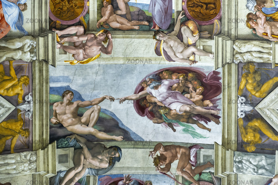 Rome Italy. Sistine Chapel by Michelangelo. The creation of Adam. December 2019