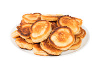 Sweet toasted pancakes on white plate
