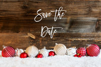 Christmas Ball Ornament, Snow, Calligraphy Save The Date