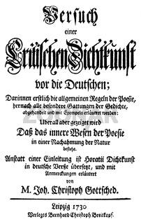 Historic print, 1740, title page by Johann Jakob Bodmer, 1698 - 1783, a Swiss philologist,