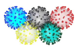 Symbolic 3D illustration of the coronavirus sars-cov-2 and the olympic rings