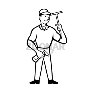 Window Cleaner Holding Squeegee and Spray Bottle Cartoon Black and White