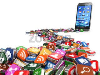 Software. Smartphone or mobile phone app icons background.