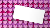 Modern Valentines Day background with stackes pink heart shapes
