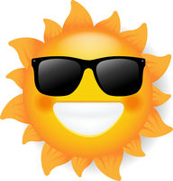 Sun With Sunglasses Isolated White Background