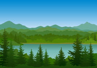 Landscape, Trees and Mountain Lake