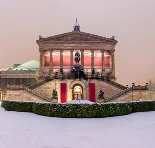 Berlin, Mitte, Winter, Schnee, Alte Nationalgalerie, Nachtaufnahme, Berlin bei Nacht