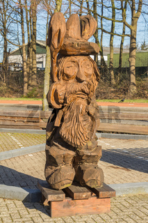 Wooden figure sculptured with a chain saw