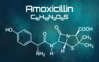 Chemical formula of Amoxicillin on a futuristic background