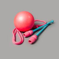 Gymnastic equipment. Skipping rope, clubs for rhythmic gymnastics and ball.