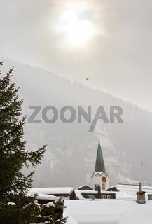 Church tower at Leukerbad, Switzerland