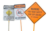 Isolated Water Warning Signs