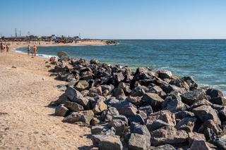 Sandy beaches on the Berdyansk Spit, Ukraine