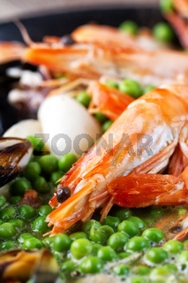 Pan-fried Seafood with Peas. High quality photo.