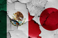 flags of Mexico and Japan painted on cracked wall
