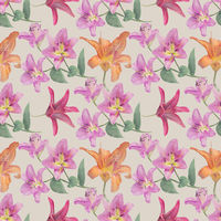 Seamless floral design with lily  flowers for background