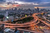 Bangkok downtown highway at sunset