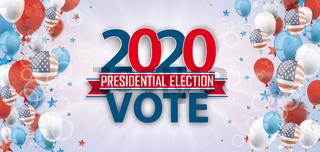 Vote 2020 USA Balloons Sunbeam Stars Bokeh Header
