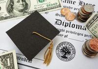 graduation cap money and diploma