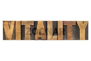 vitality word in wood type