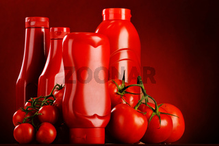 Composition with ketchup and fresh tomatoes.