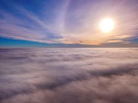 Aerial photo above the fog or white clouds