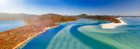 Whitehaven Beach from drone, amazing aerial view at sunset, Queensland, Australia