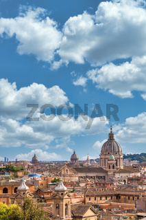 Rome cityscape with blue sky and clouds, Italy