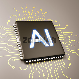 Computer Processor with AI Text 3D Illustration